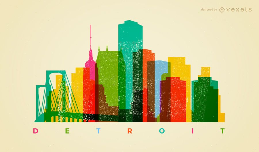 Colorful Detroit skyline