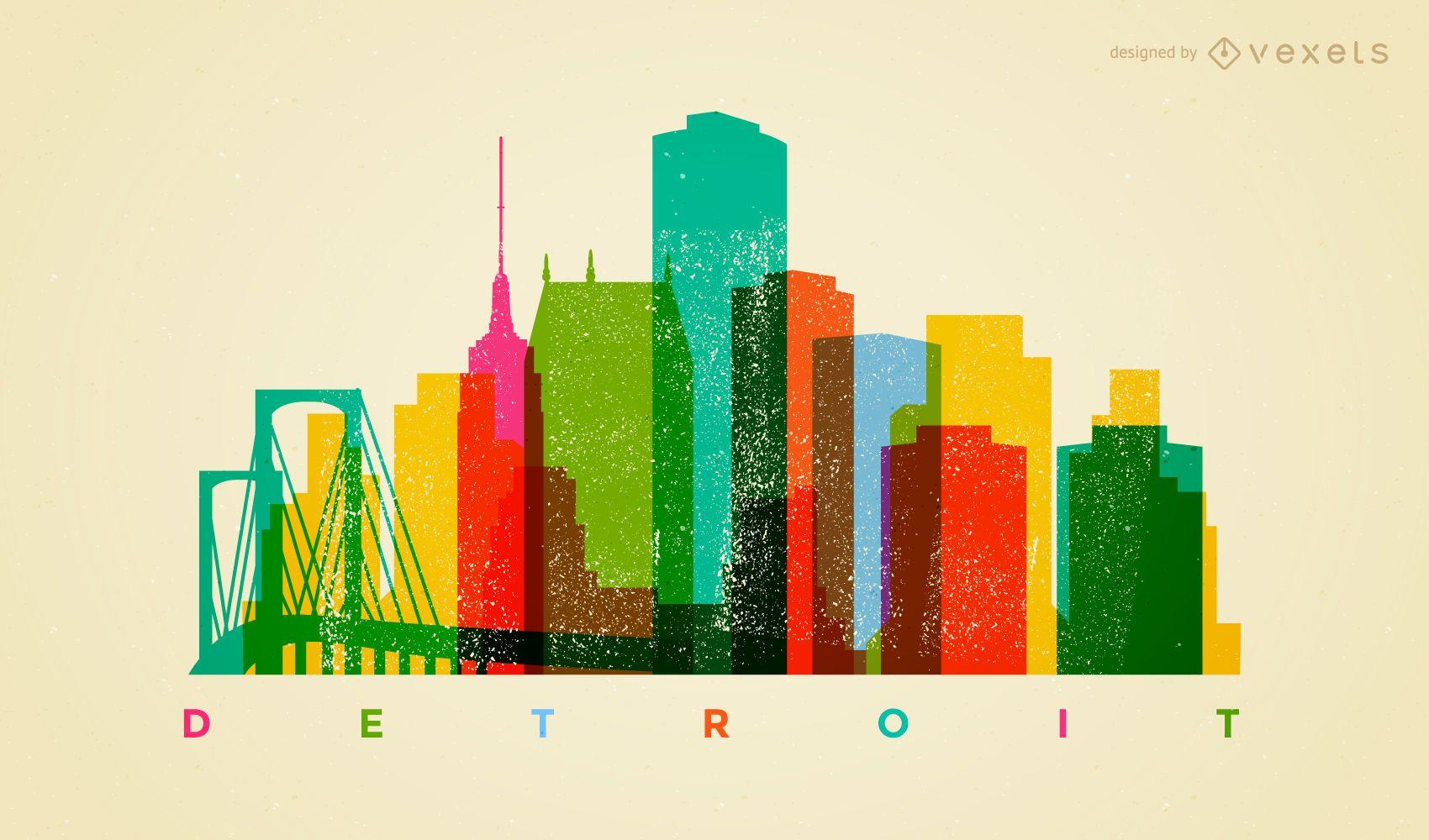 Colorful Detroit skyline