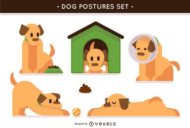 Set of illustrated dog postures
