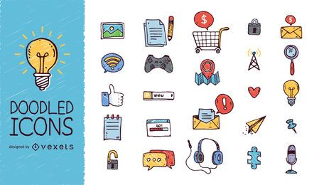 Los medios sociales doodled conjunto de iconos