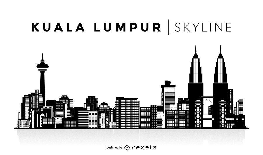 Horizonte de silhueta de Kuala Lumpur