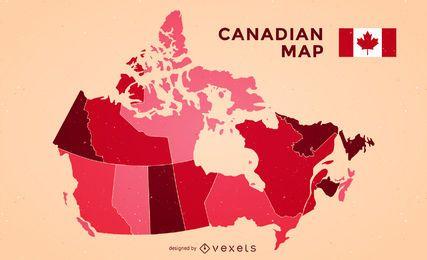 Mapa de Canadá con la bandera