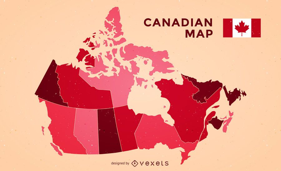 Canada map with flag