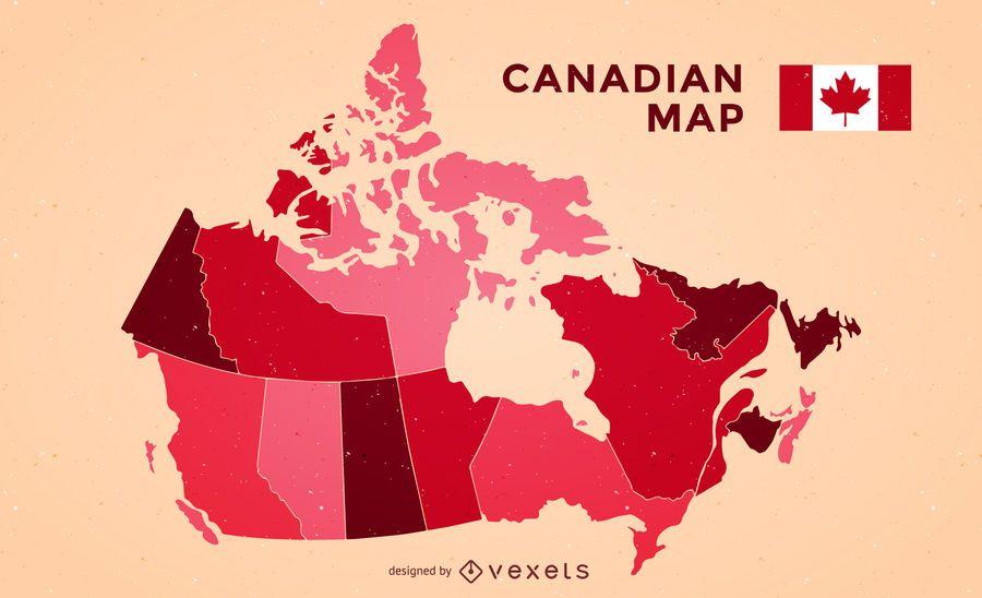 Mapa de Canadá com bandeira