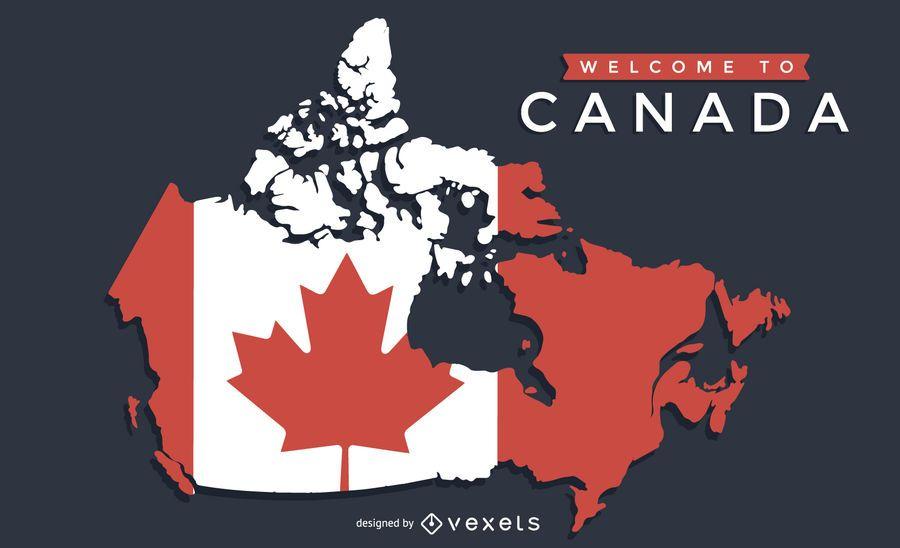 Mapa de Canadá con diseño de bandera