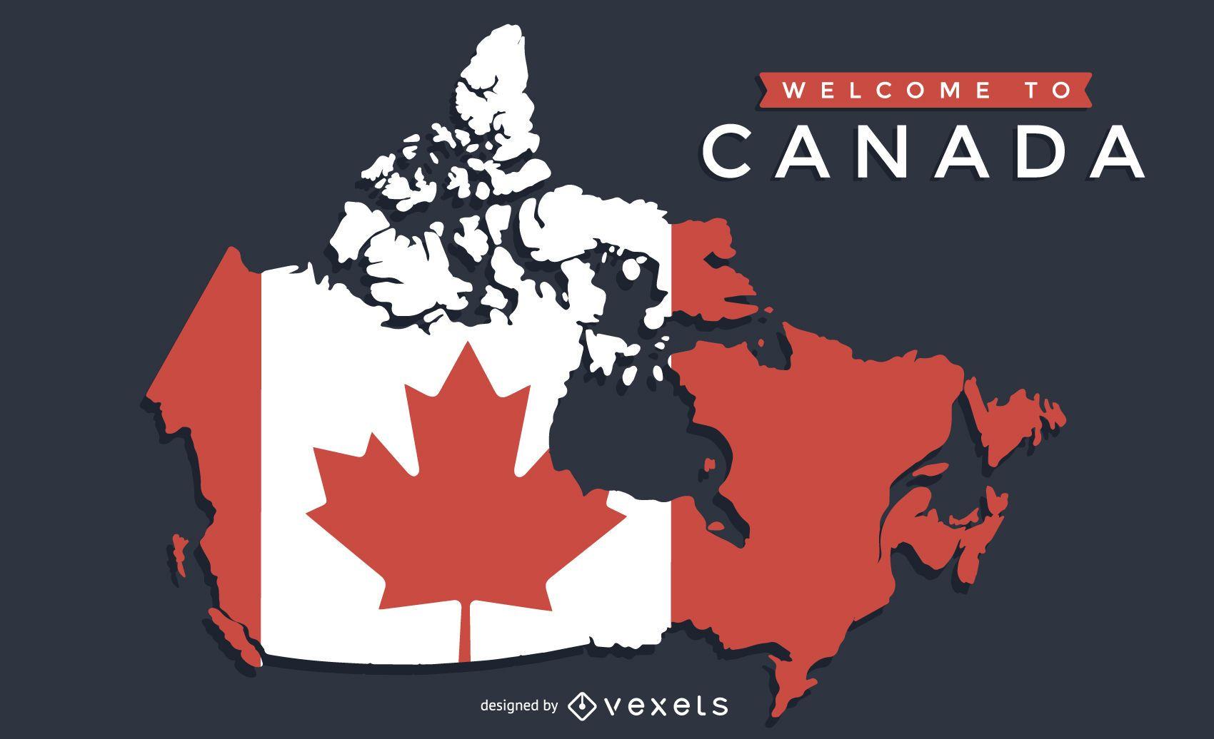 Mapa do Canadá com desenho de bandeira