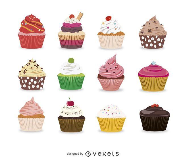 Sammlung von illustrierten Cupcakes