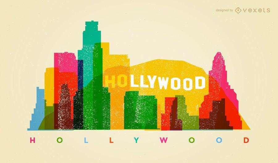 Colorful Hollywood skyline