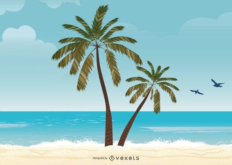 Isla de verano ilustración con palmeras.