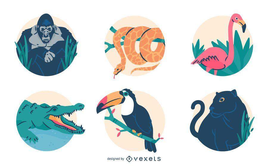 Conjunto de ilustración de animales de selva