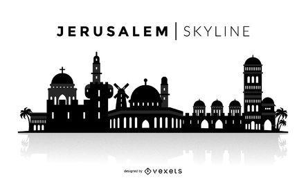 Skyline de silhueta de Jerusalém