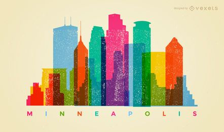 Skyline colorida de Minneapolis