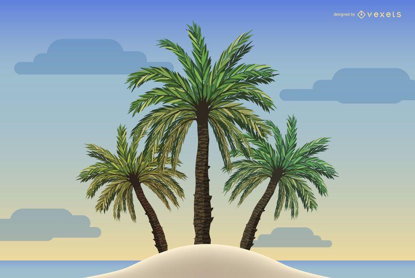Ilustración de palmeras en una playa