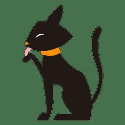 Gato negro silueta bañándose