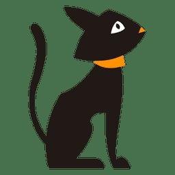 Silhueta de gato preto sentado