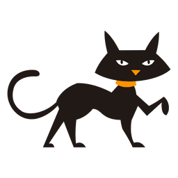 Gato negro caminando silueta de gato