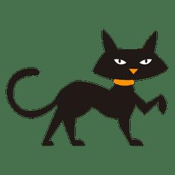 Silhueta de gato preto e gato