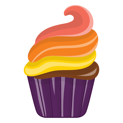 Delicious decorated cupcake cartoon Transparent PNG
