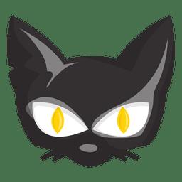 Cara de dibujos animados de gato de Halloween