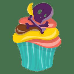 Crânio de Halloween decorado cupcake