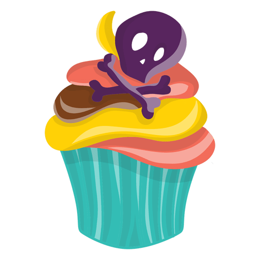 Halloween skull decorated cupcake Transparent PNG