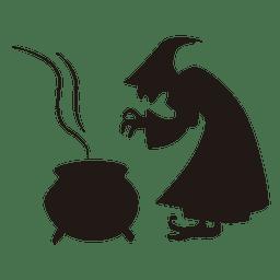 Silhueta de bruxa cozinhando Halloween