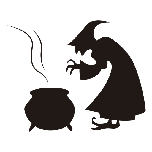 Halloween witch cooking silhouette