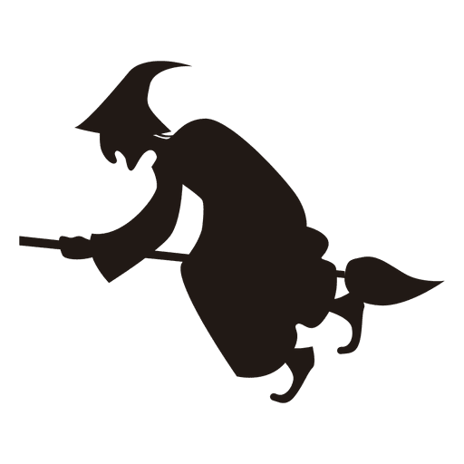Halloween witch silhouette flying