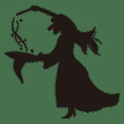Sombrero de la silueta de la bruja de Halloween