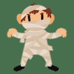 Disfraz de momia de dibujos animados de halloween