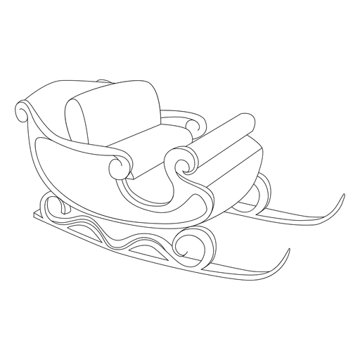 Santa trineo deslizante contornos Transparent PNG