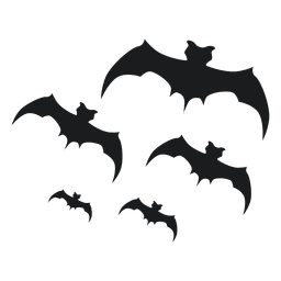 Set of black bat silhouettes