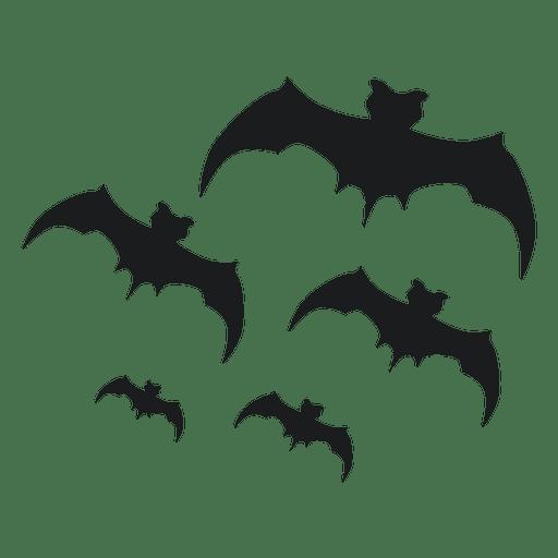 Set of black bat silhouettes Transparent PNG