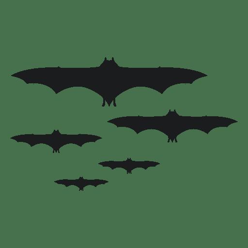 Set of black bat silhouettes 1 Transparent PNG