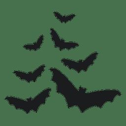 Conjunto de silhuetas de morcego preto 3