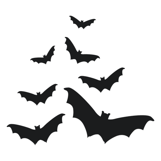 Set of black bat silhouettes 3 Transparent PNG