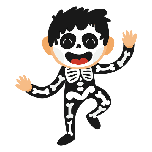 Disfraz de halloween esqueleto niño Transparent PNG