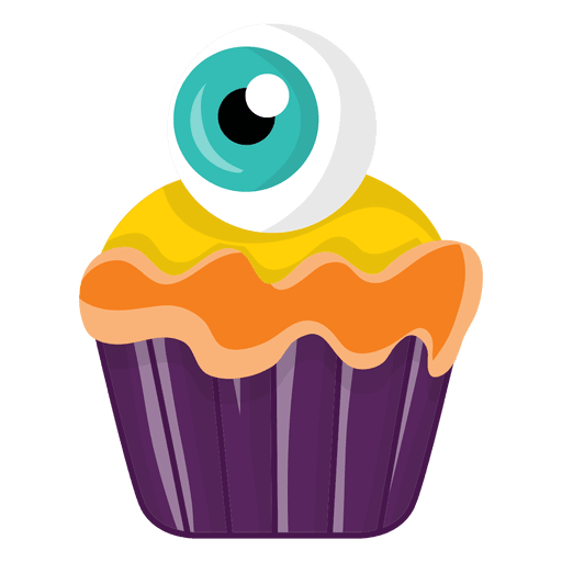 Spooky cupcake with eyec Transparent PNG