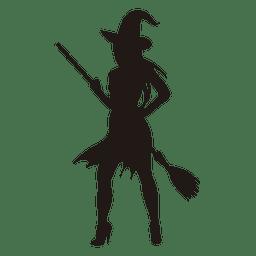 Silhueta jovem bruxa do Dia das Bruxas