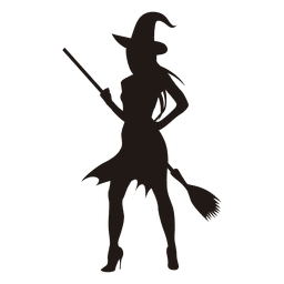Young halloween witch silhouette