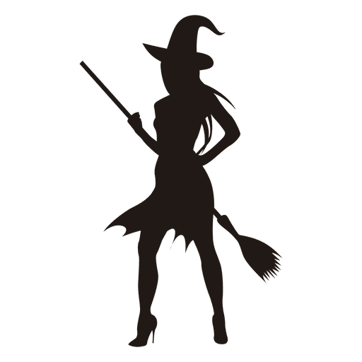 Young halloween witch silhouette Transparent PNG