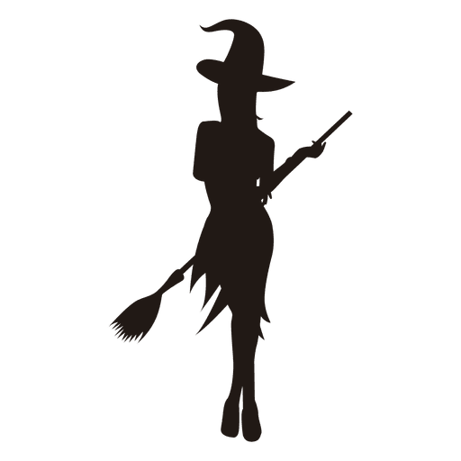 Young witch gril silhouette Transparent PNG