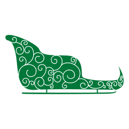 Grüner Schlitten gleitet