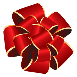 Pom pom red bow gift
