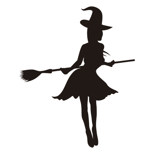 Witch Girl Silhouette With Broom Transparent Png Svg Vector File