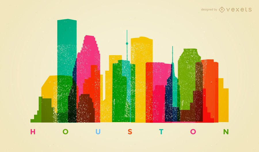 Colorful Houston skyline