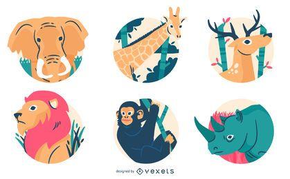 Emblemas de animais selvagens e ilustração