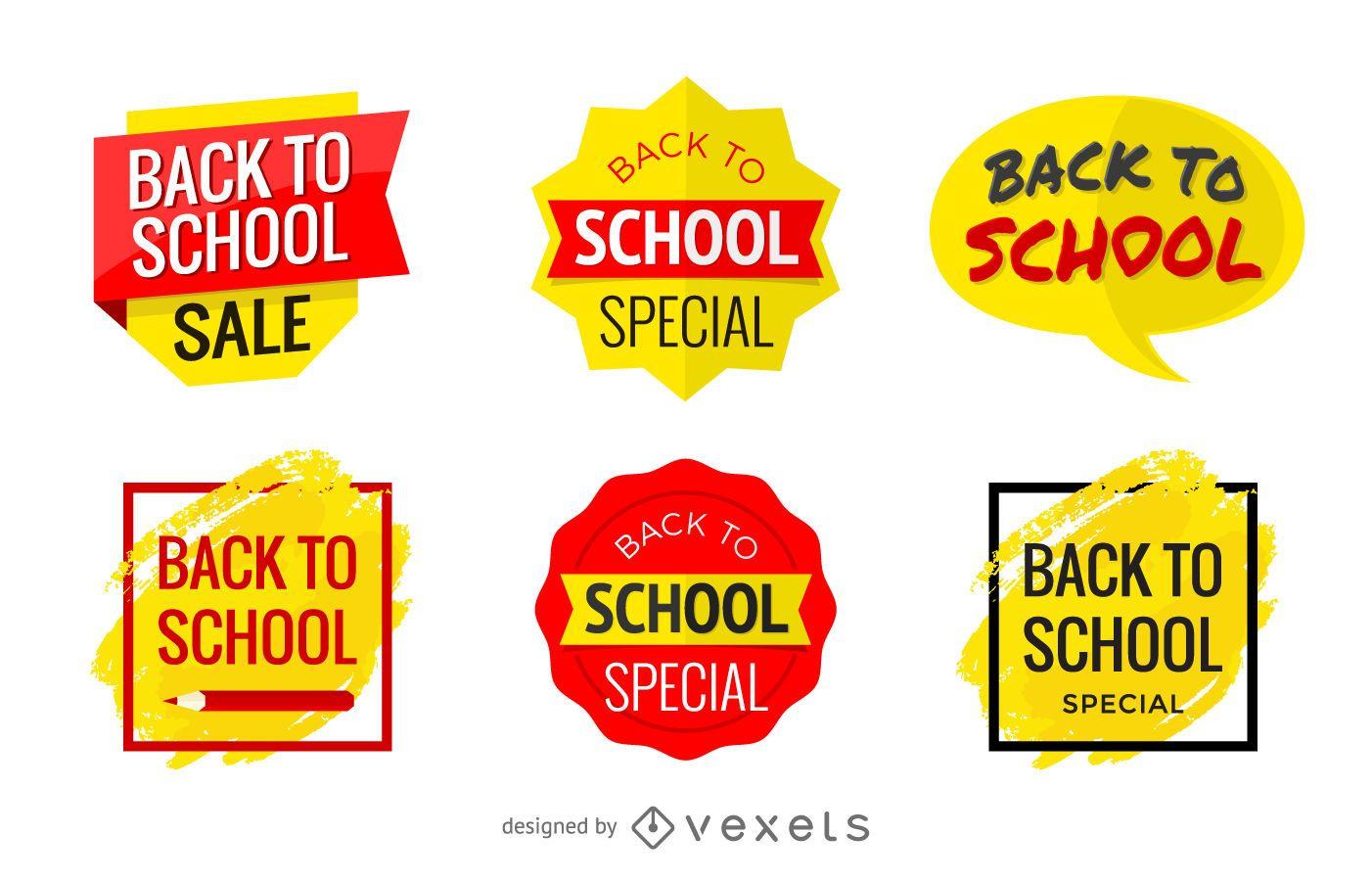 Insignias promocionales de regreso a la escuela y pancartas de venta.