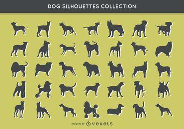 Colección de siluetas de 35 perros