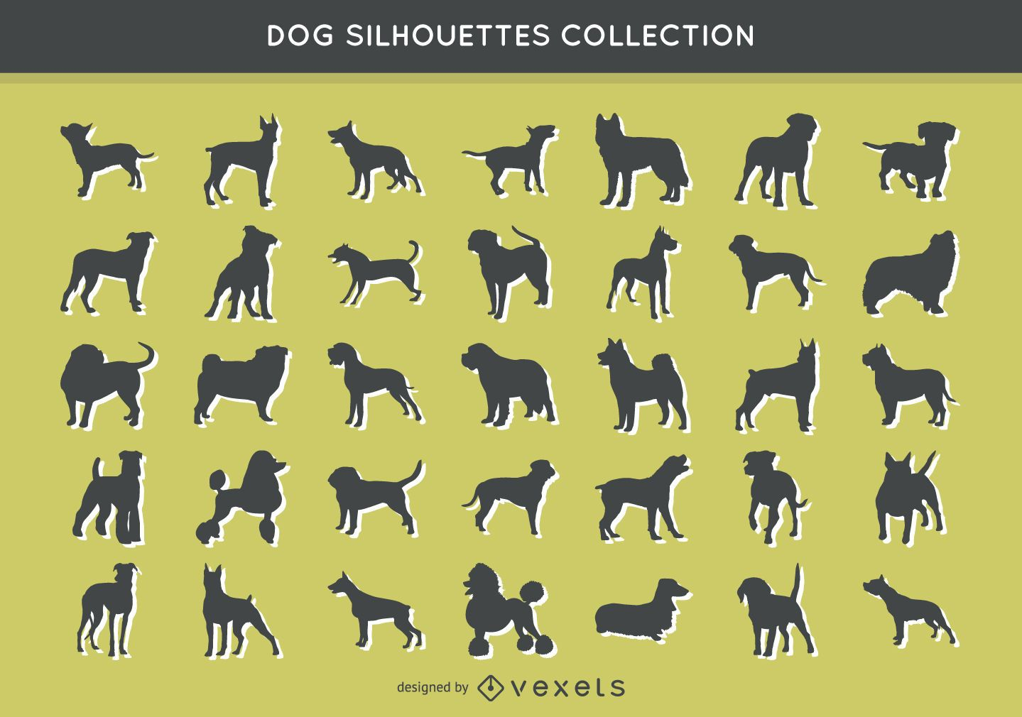 35 dog silhouettes collection